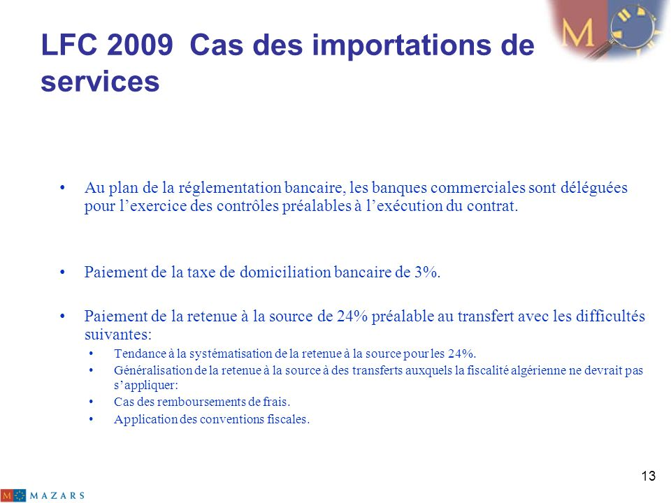 LFC 2009 Cas des importations de services