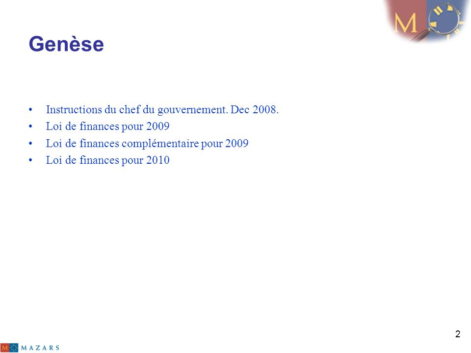 Genèse Instructions du chef du gouvernement. Dec 2008.