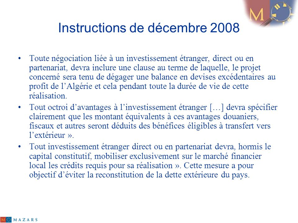 Instructions de décembre 2008