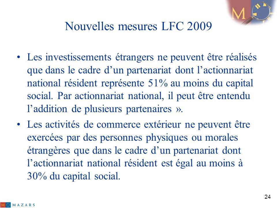 Nouvelles mesures LFC 2009