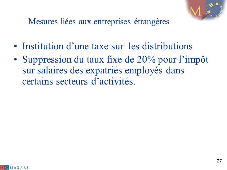 Mesures liées aux entreprises étrangères