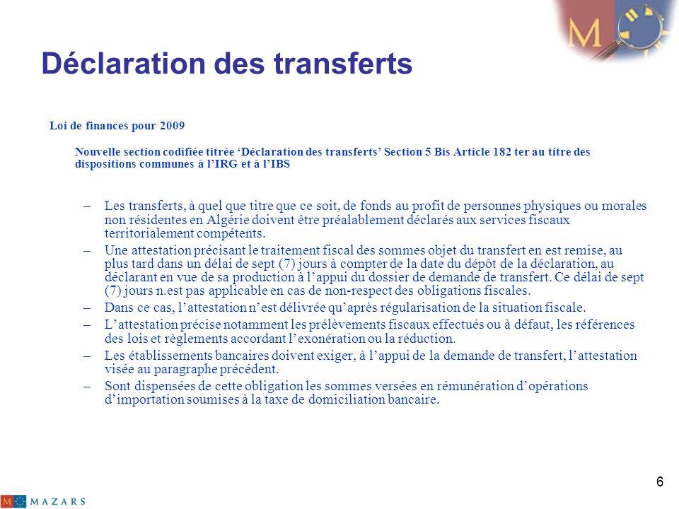 Déclaration des transferts