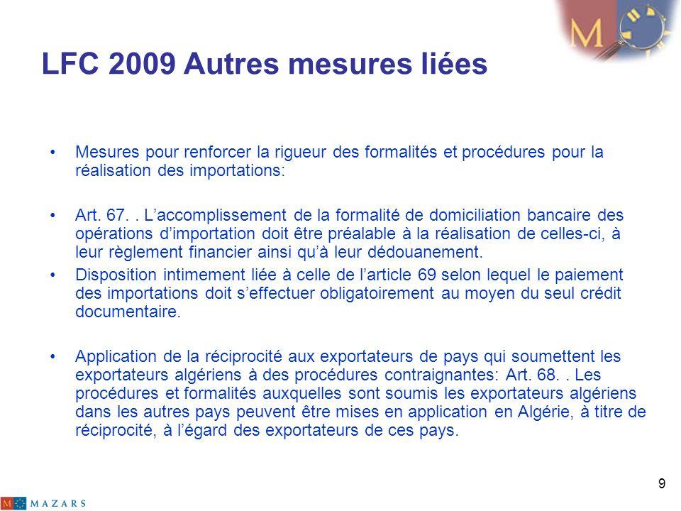 LFC 2009 Autres mesures liées