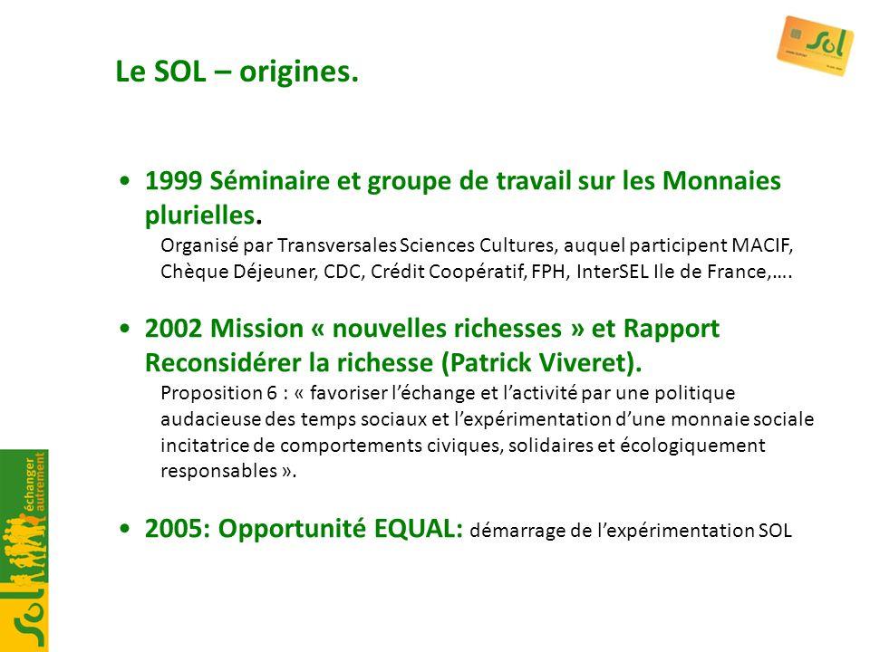 Le SOL – origines. 1999 Séminaire et groupe de travail sur les Monnaies plurielles.