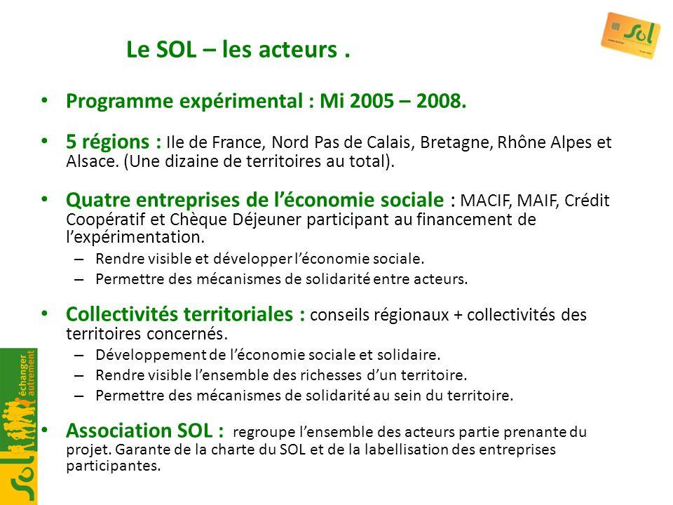 Le SOL – les acteurs . Programme expérimental : Mi 2005 – 2008.