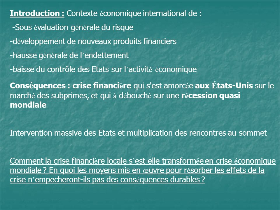 Introduction : Contexte économique international de :