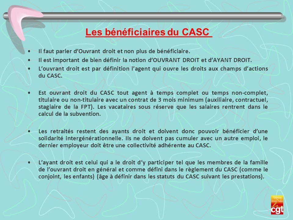 Les bénéficiaires du CASC