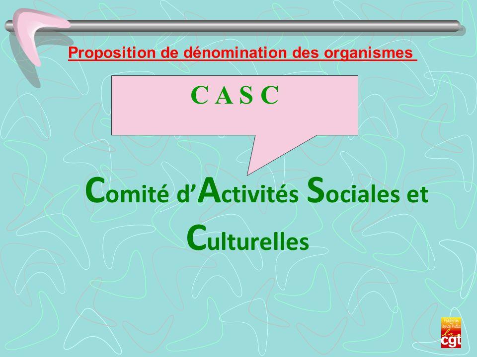 Proposition de dénomination des organismes