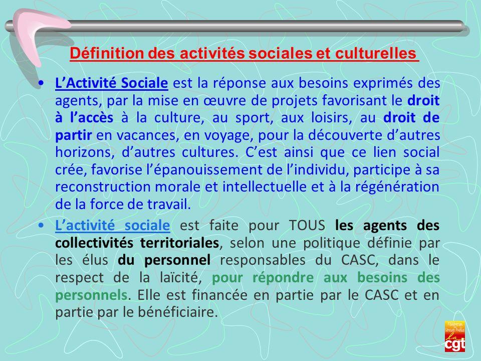 Définition des activités sociales et culturelles