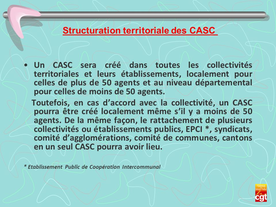 Structuration territoriale des CASC