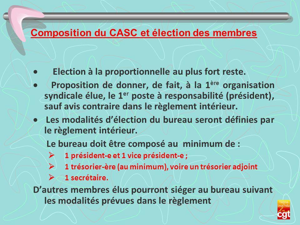 Composition du CASC et élection des membres