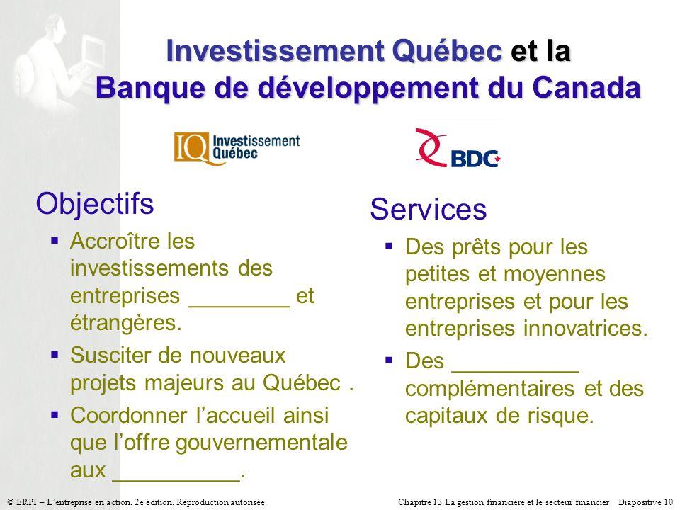 Investissement Québec et la Banque de développement du Canada