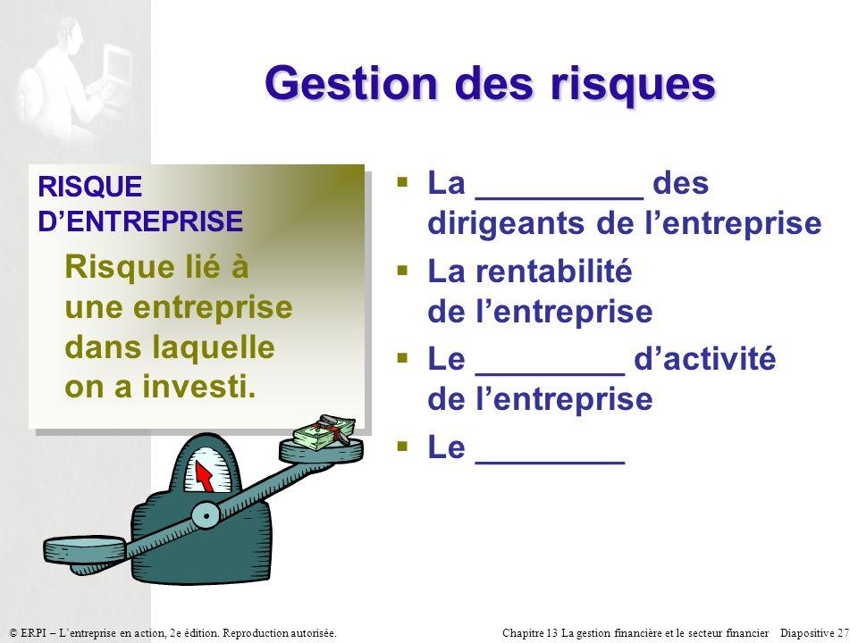 Gestion des risques La _________ des dirigeants de l'entreprise