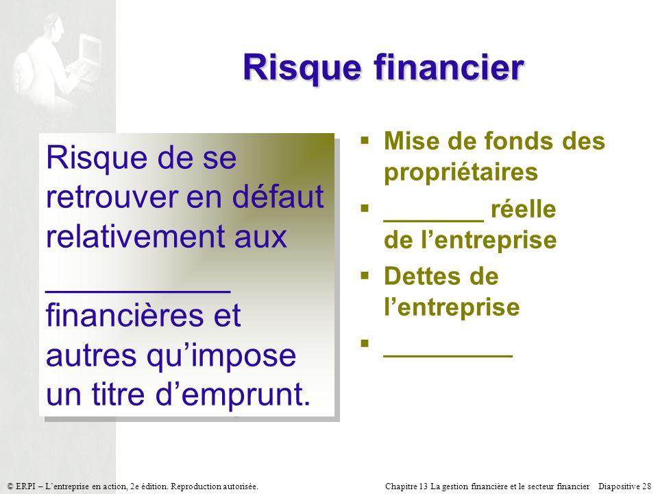 Risque financier Mise de fonds des propriétaires. _______ réelle de l'entreprise. Dettes de l'entreprise.