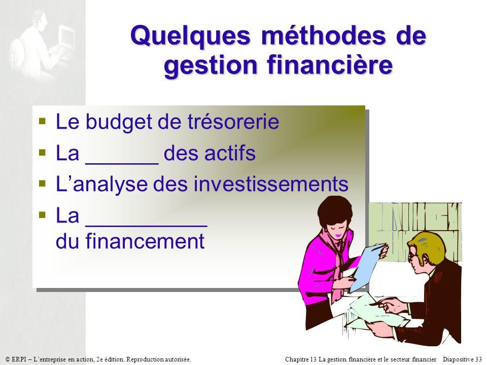 Quelques méthodes de gestion financière