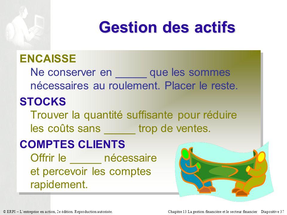 Gestion des actifs ENCAISSE Ne conserver en _____ que les sommes nécessaires au roulement. Placer le reste.