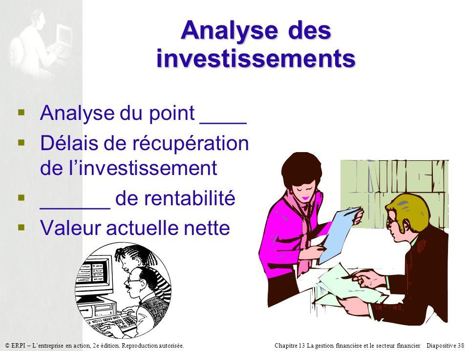 Analyse des investissements