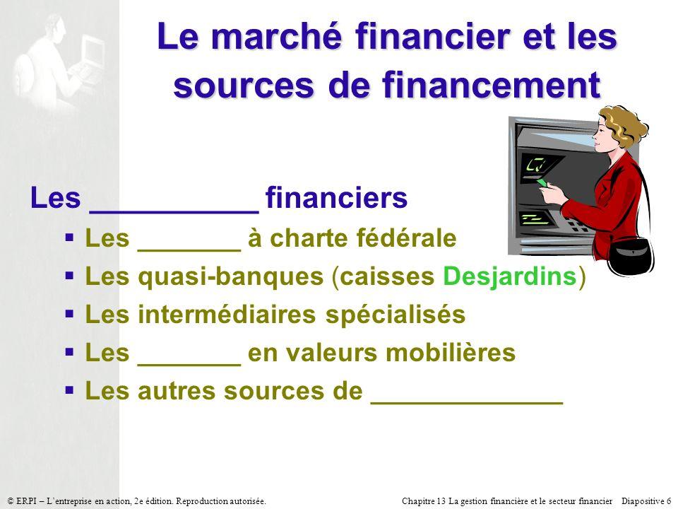 Le marché financier et les sources de financement