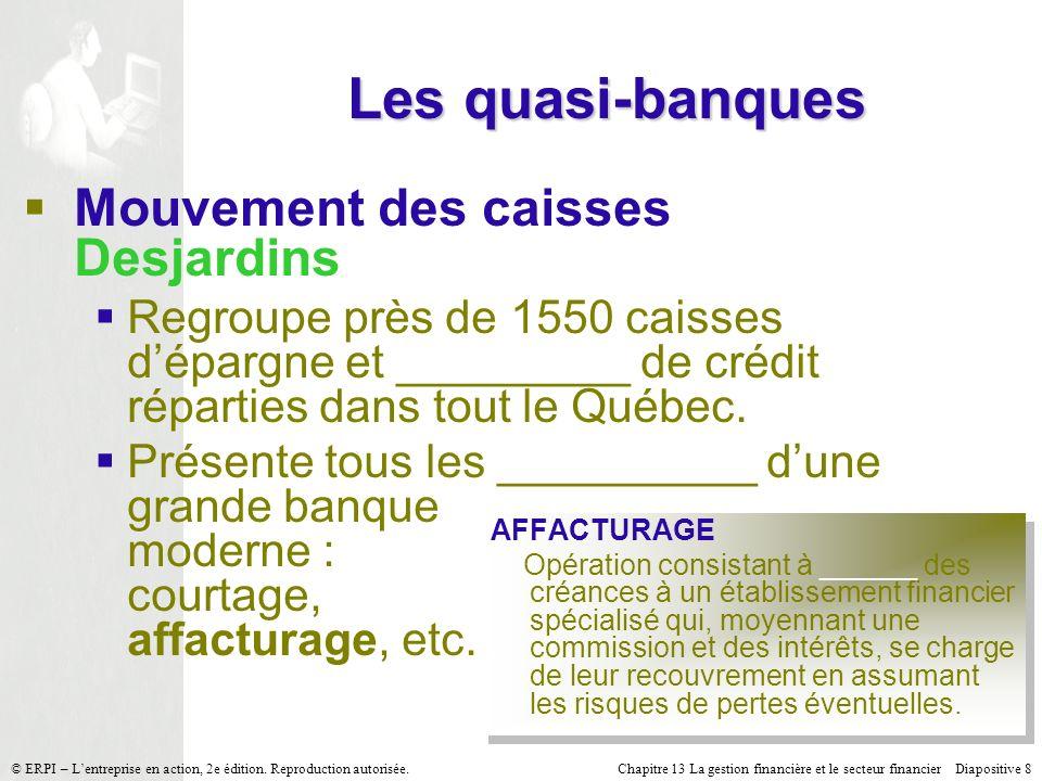 Les quasi-banques Mouvement des caisses Desjardins