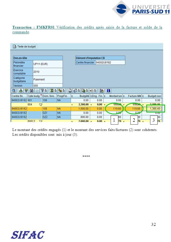 30/03/2017 Transaction : FMKFR01 Vérification des crédits après saisie de la facture et solde de la commande.