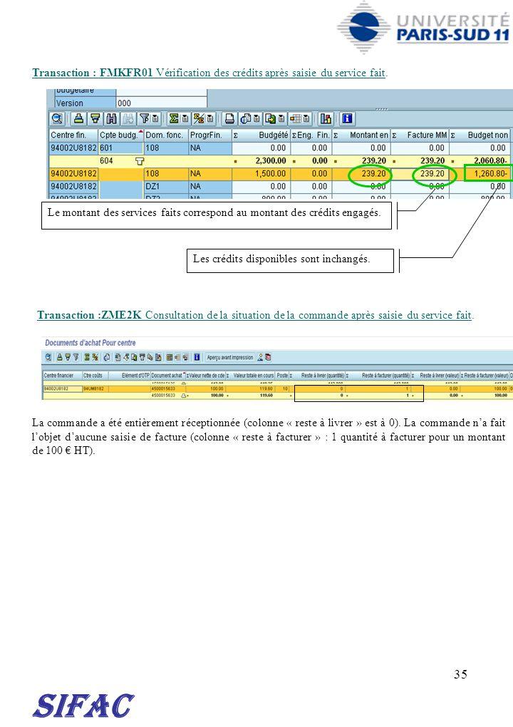 30/03/2017 Transaction : FMKFR01 Vérification des crédits après saisie du service fait.