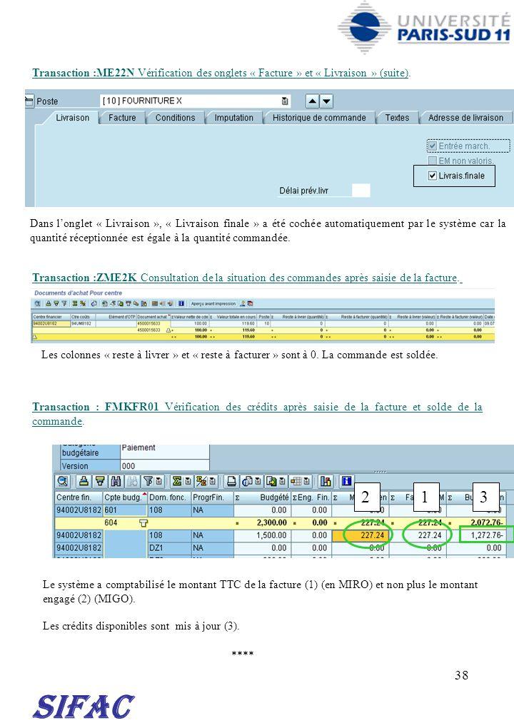 30/03/2017 Transaction :ME22N Vérification des onglets « Facture » et « Livraison » (suite).