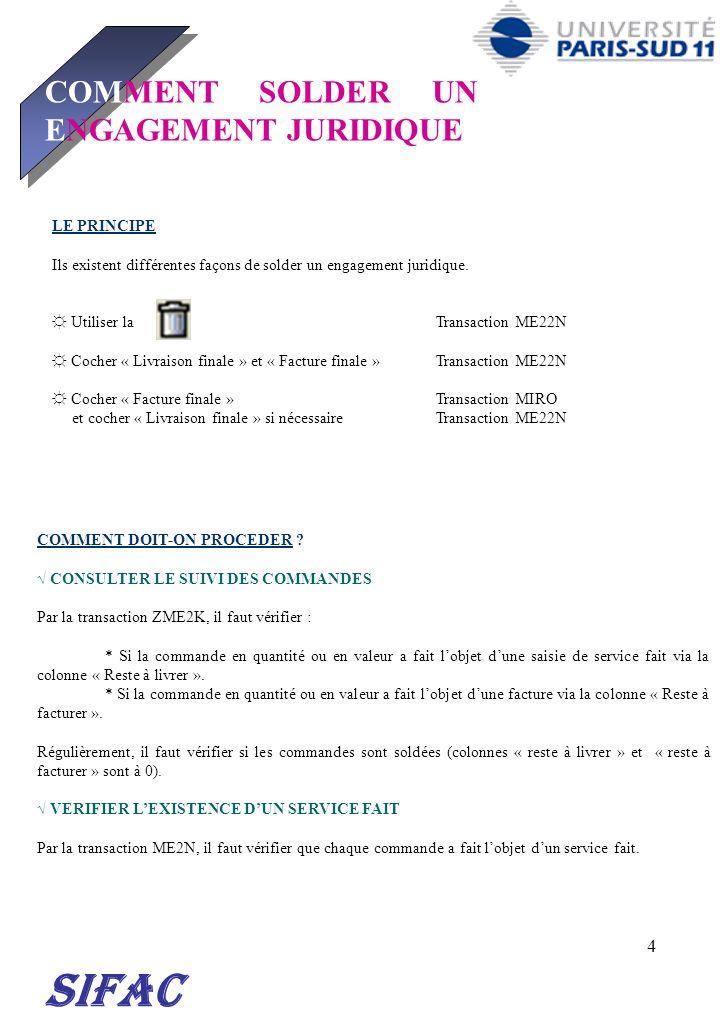 SIFAC COMMENT SOLDER UN ENGAGEMENT JURIDIQUE 30/03/2017 LE PRINCIPE