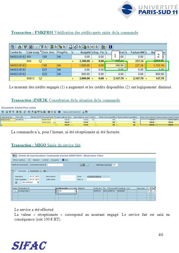 30/03/2017 Transaction : FMKFR01 Vérification des crédits après saisie de la commande. 1. 2.