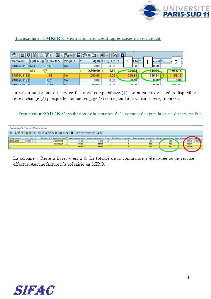 30/03/2017 Transaction : FMKFR01 Vérification des crédits après saisie du service fait. 3. 1. 2.