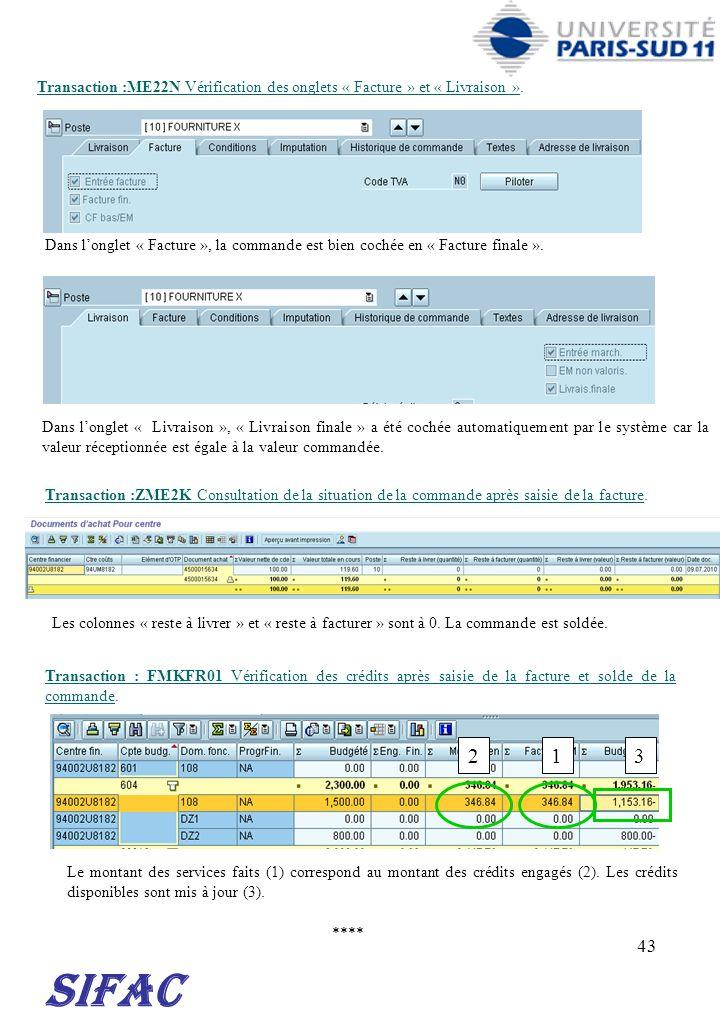 30/03/2017 Transaction :ME22N Vérification des onglets « Facture » et « Livraison ».