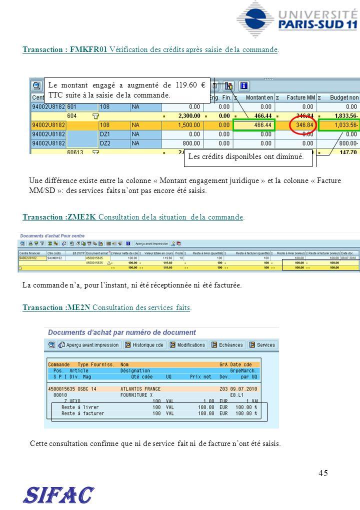 30/03/2017 Transaction : FMKFR01 Vérification des crédits après saisie de la commande.
