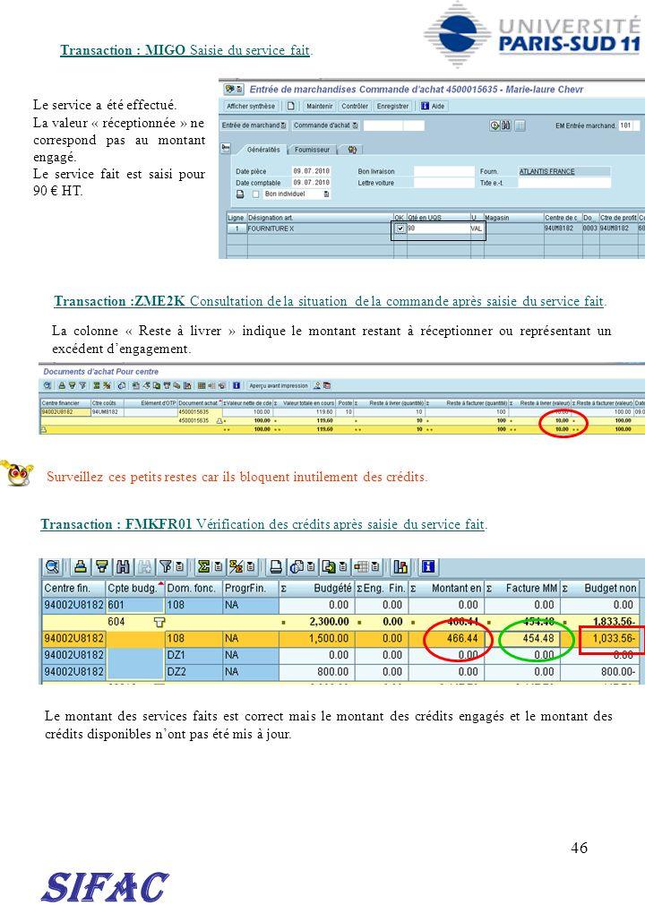SIFAC 30/03/2017 Transaction : MIGO Saisie du service fait.