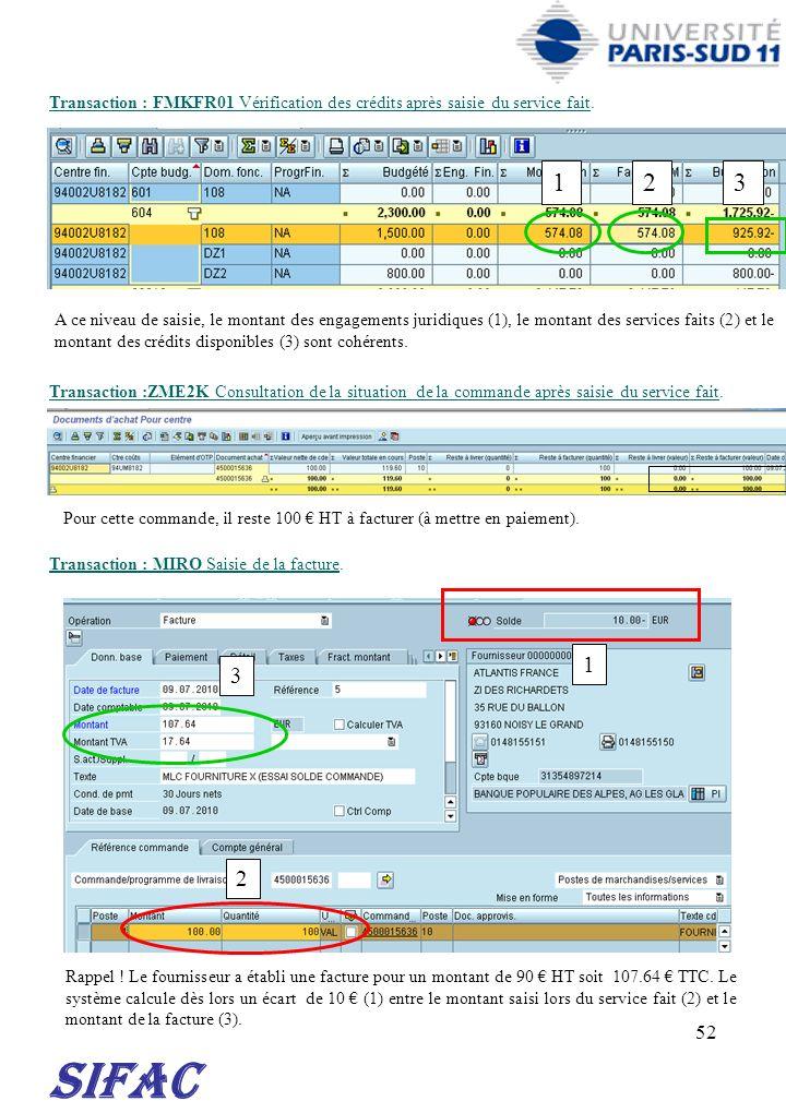 30/03/2017 Transaction : FMKFR01 Vérification des crédits après saisie du service fait. 1. 2. 3.
