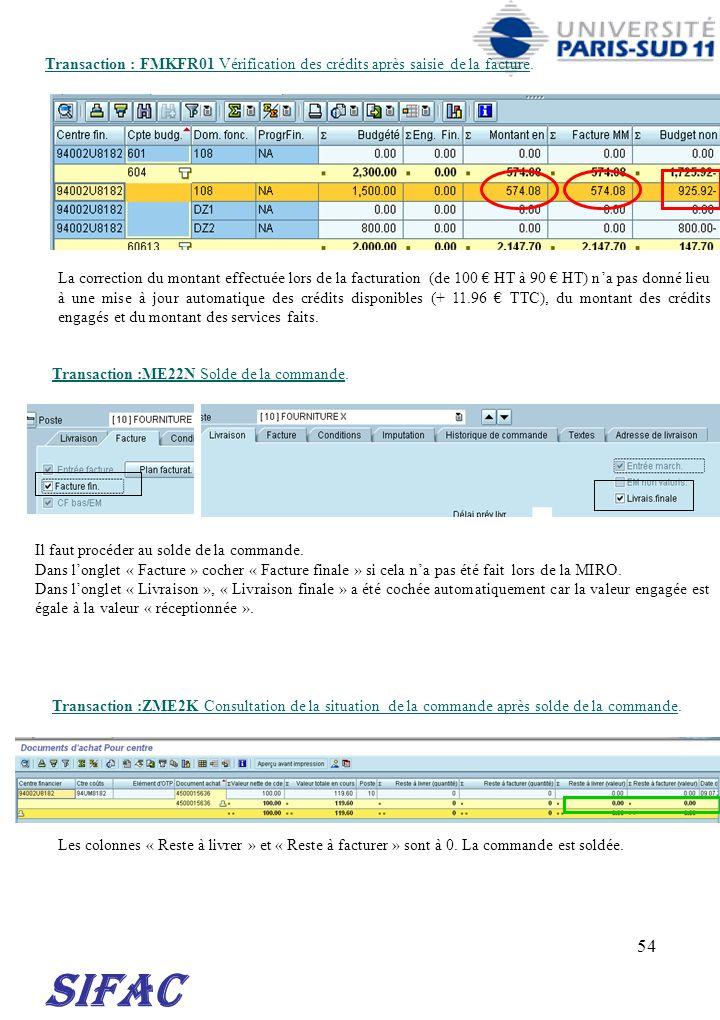 30/03/2017 Transaction : FMKFR01 Vérification des crédits après saisie de la facture.
