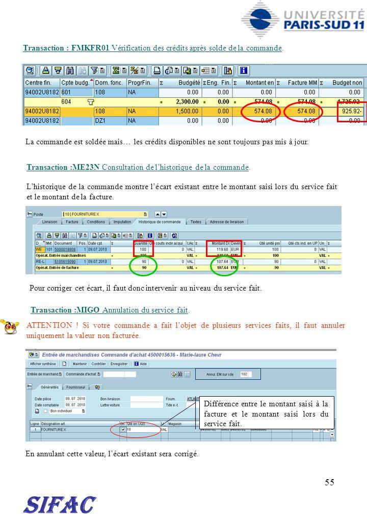 30/03/2017 Transaction : FMKFR01 Vérification des crédits après solde de la commande.