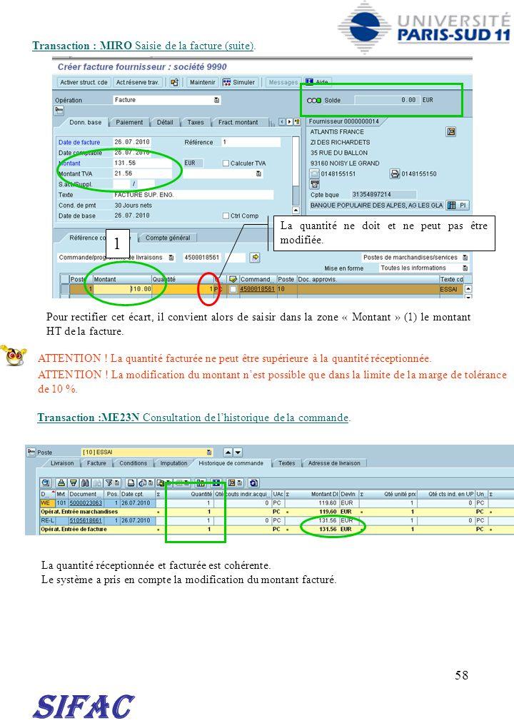 SIFAC 1 Transaction : MIRO Saisie de la facture (suite).