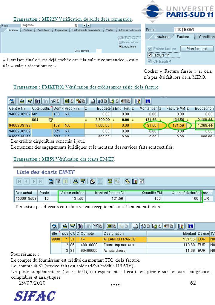 Transaction : ME22N Vérification du solde de la commande.