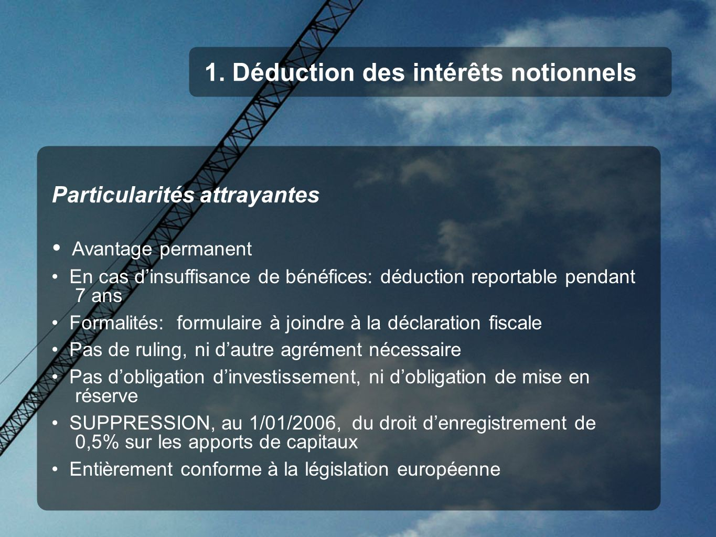 1. Déduction des intérêts notionnels