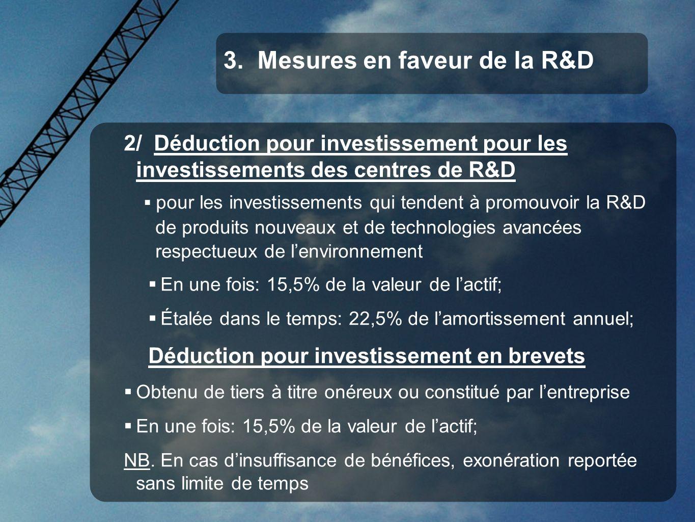 3. Mesures en faveur de la R&D