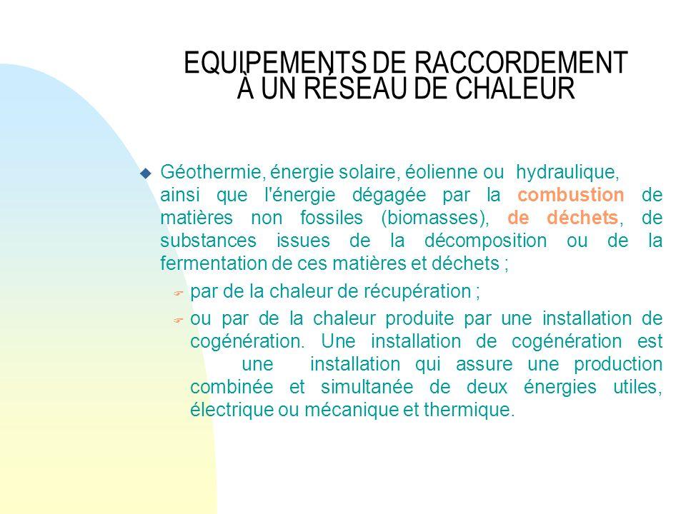 EQUIPEMENTS DE RACCORDEMENT À UN RÉSEAU DE CHALEUR