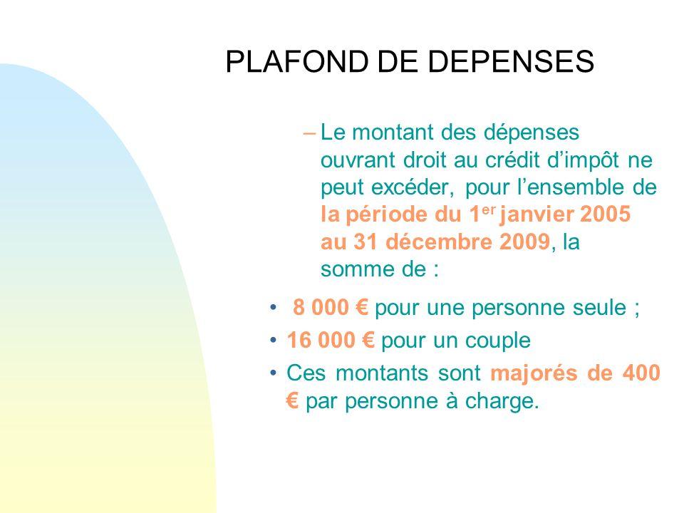 PLAFOND DE DEPENSES