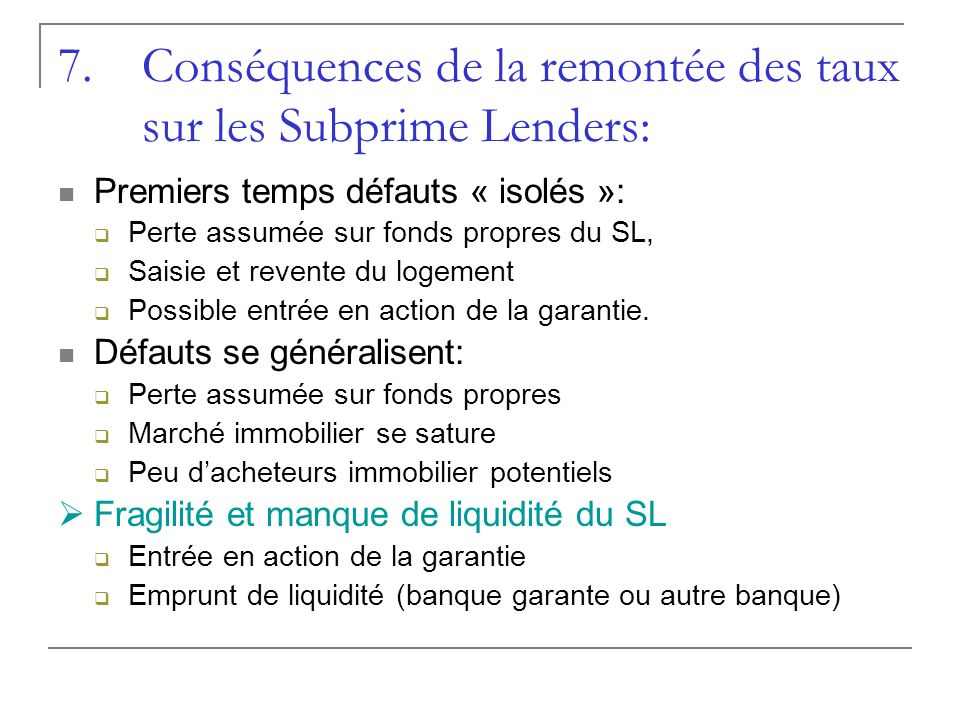 Conséquences de la remontée des taux sur les Subprime Lenders: