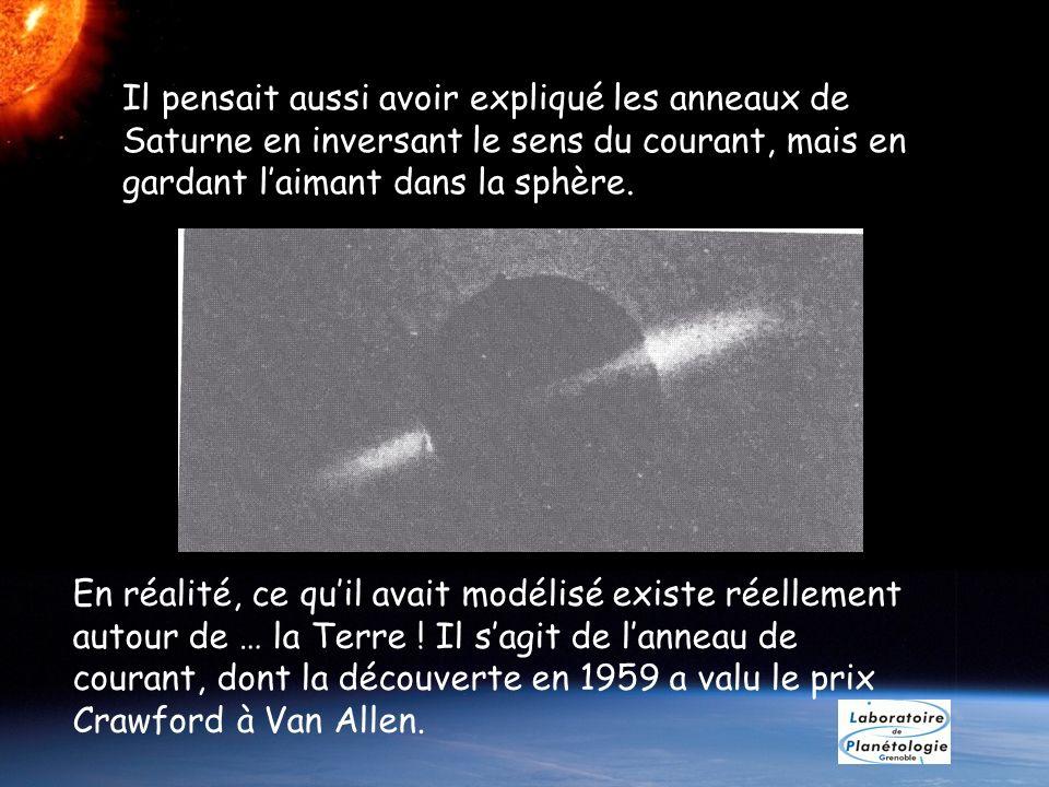 Il pensait aussi avoir expliqué les anneaux de Saturne en inversant le sens du courant, mais en gardant l'aimant dans la sphère.