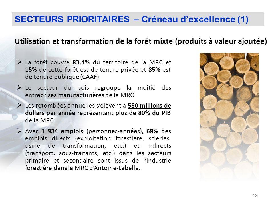 SECTEURS PRIORITAIRES – Créneau d'excellence (1)