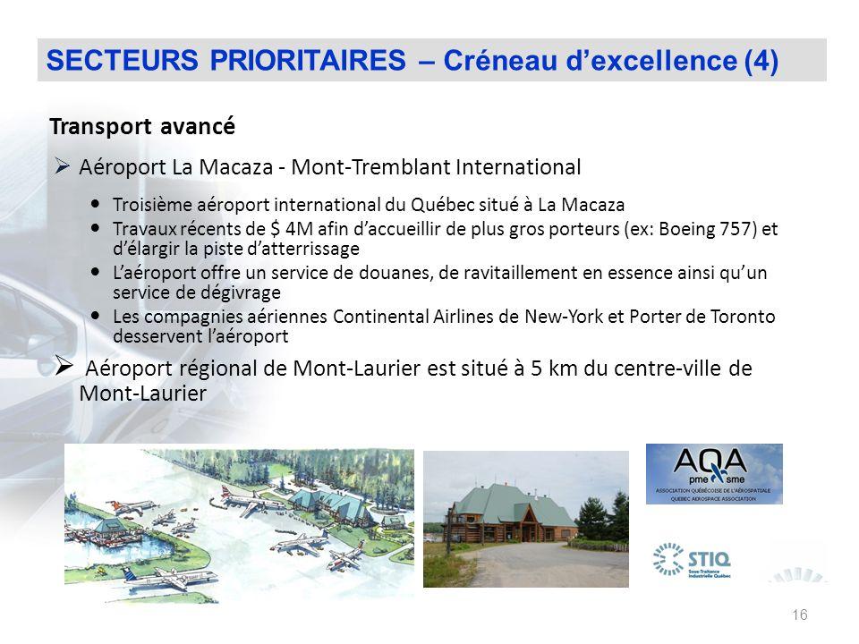 SECTEURS PRIORITAIRES – Créneau d'excellence (4)
