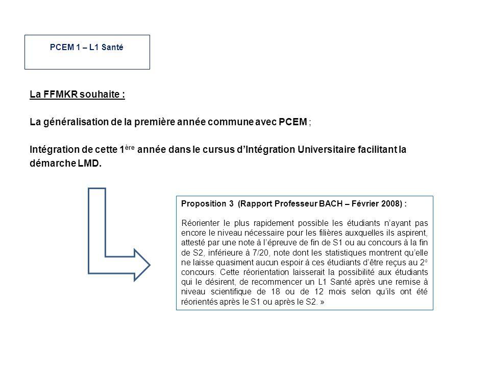 La généralisation de la première année commune avec PCEM ;