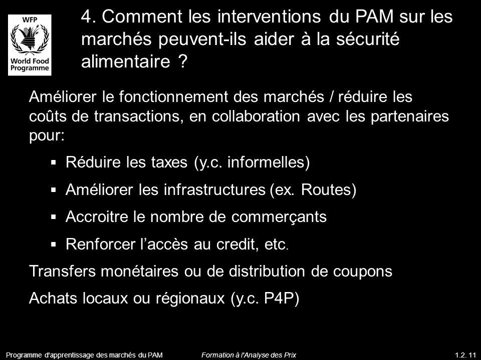 4. Comment les interventions du PAM sur les marchés peuvent-ils aider à la sécurité alimentaire