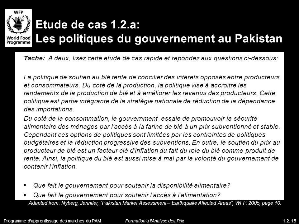 Les politiques du gouvernement au Pakistan
