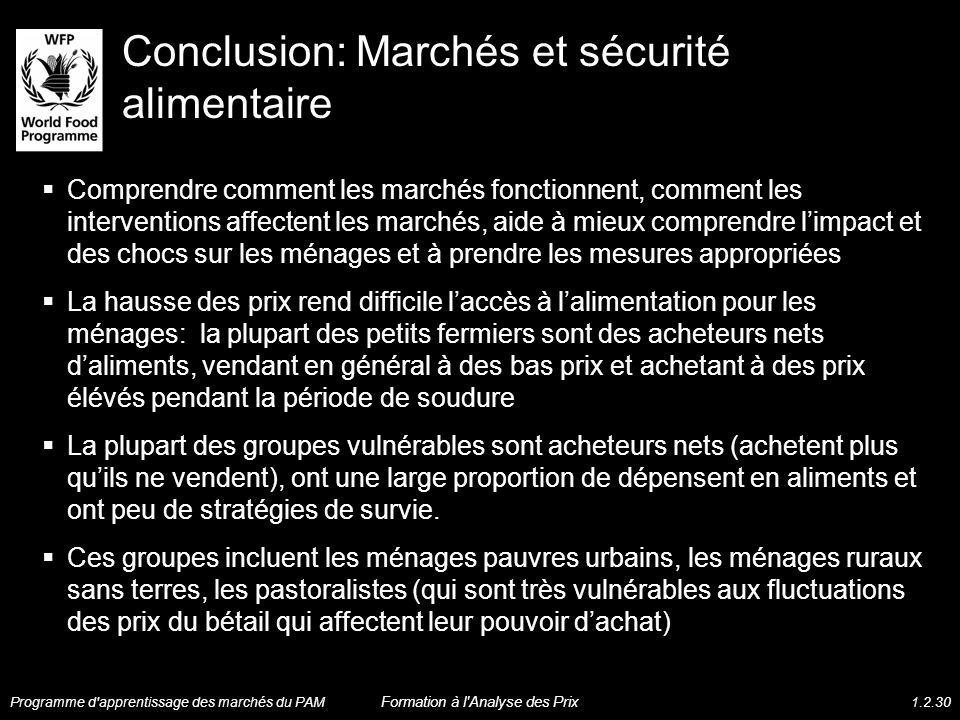 Conclusion: Marchés et sécurité alimentaire