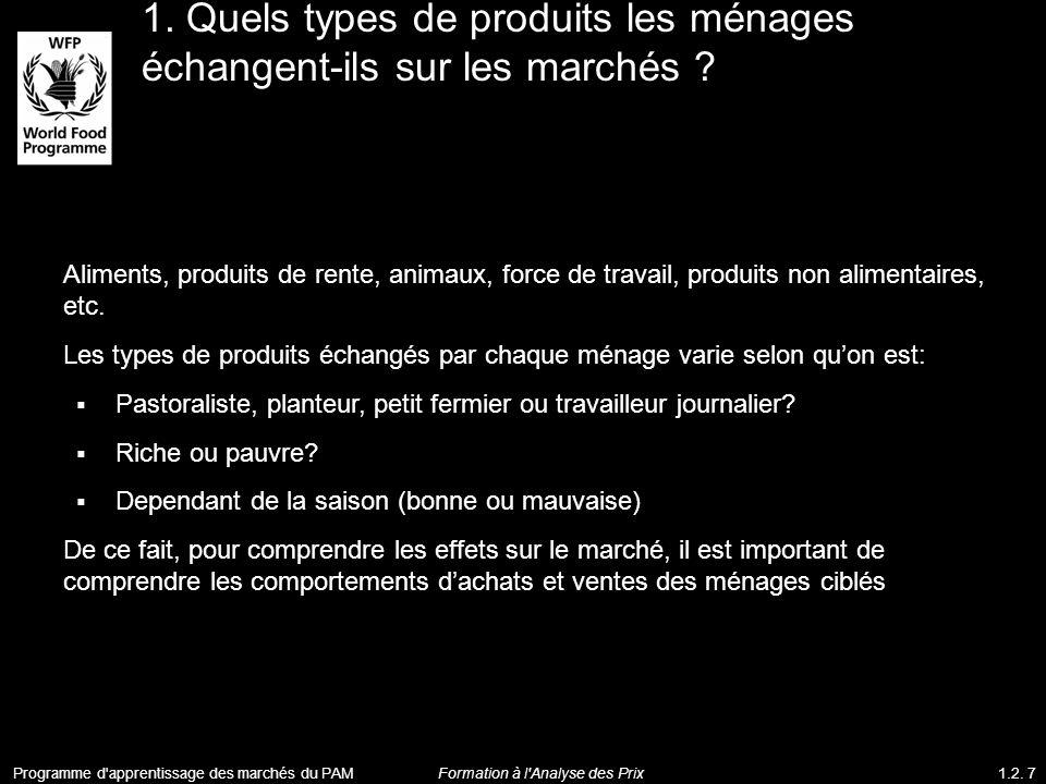 1. Quels types de produits les ménages échangent-ils sur les marchés